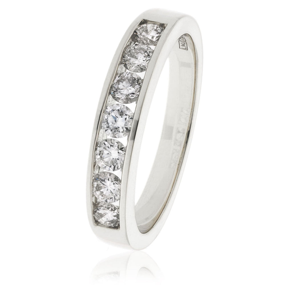 Channel and Grain Set Half Eternity Ring 0.50ct