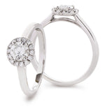 Claw Set Halo Engagement Ring 0.65ct