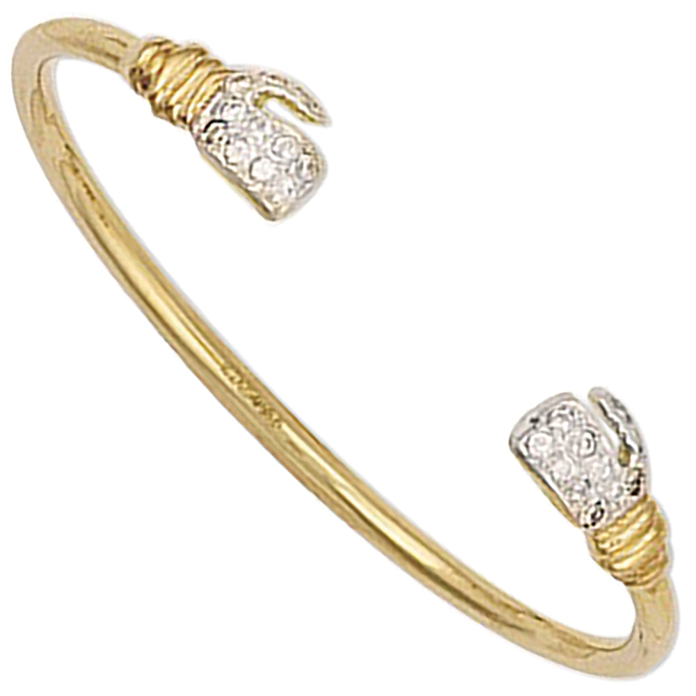 9ct Yellow Gold Baby Cubic Zirconia Boxing Glove Bangle