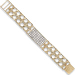9ct Yellow Gold Plain & Bark Casted Curb Baby Cubic Zirconia ID Bracelet