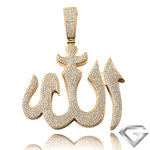 14K Yellow Gold 5.00ctw Diamond Allah Pendant