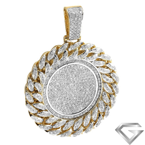 14K Yellow Gold 3.50ctw Diamond Medallion With Miami Cuban Border