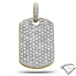 14K Yellow Gold 5.00ctw Diamond Dog Tag Pendant