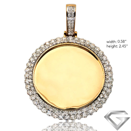 10K Yellow Gold 5.15ct Diamond Memorial Pendant - 2 Row Border(Picture / Photo Pendants)