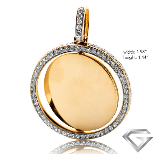 14K Yellow Gold 3.50ctw Diamond Rotating 2-Sided Memorial Pendant - Single Row Border(Picture / Photo Pendants)