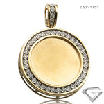 10K Yellow Gold 1.00ctw Illusion Set Diamond Memorial Pendant - Removable Plate - Satin Finish (Picture / Photo Pendants)