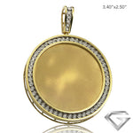 10K Yellow Gold 1.50ctw Illusion Set Diamond Memorial Pendant - Removable Plate - Satin Finish (Picture / Photo Pendants)