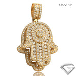 14K Yellow Gold 3.65ctw Diamond Hamza Pendant - Round Cluster W/ 2 Row Border In Middle