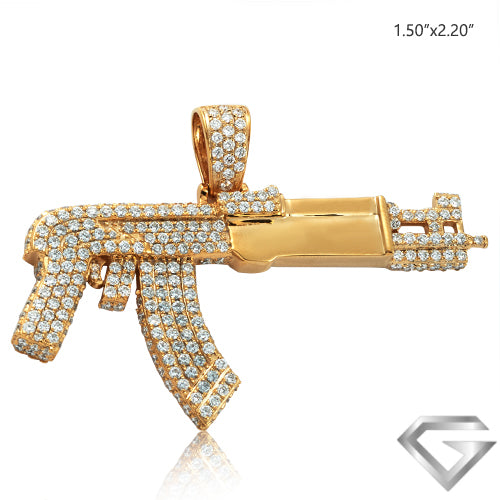 14K Yellow Gold 3.20ctw Diamond Ak-47 Gun Pendant