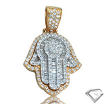 14K Yellow Gold & White Gold 2.00ctw Two Tone Diamond Hamzah Pendant - Baguette Diamond Fingers