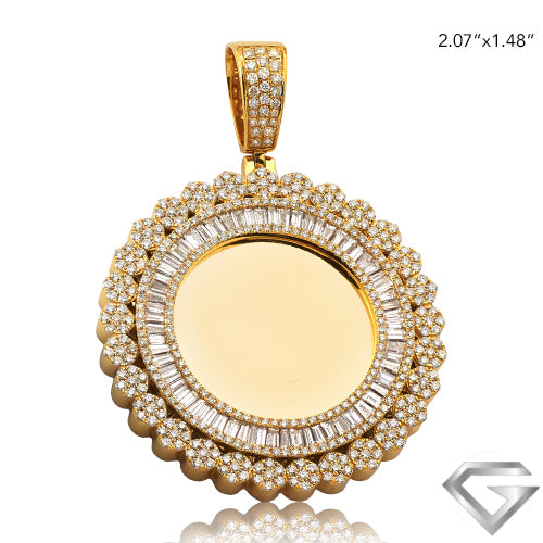 14K Yellow Gold 4.20ctw Baguette Diamond Memorial Pendant - Flower Cluster Border(Picture / Photo Pendants)