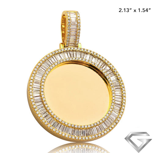 14K Yellow Gold 5.50ctw Baguette Diamond Memorial Pendant(Picture / Photo Pendants)