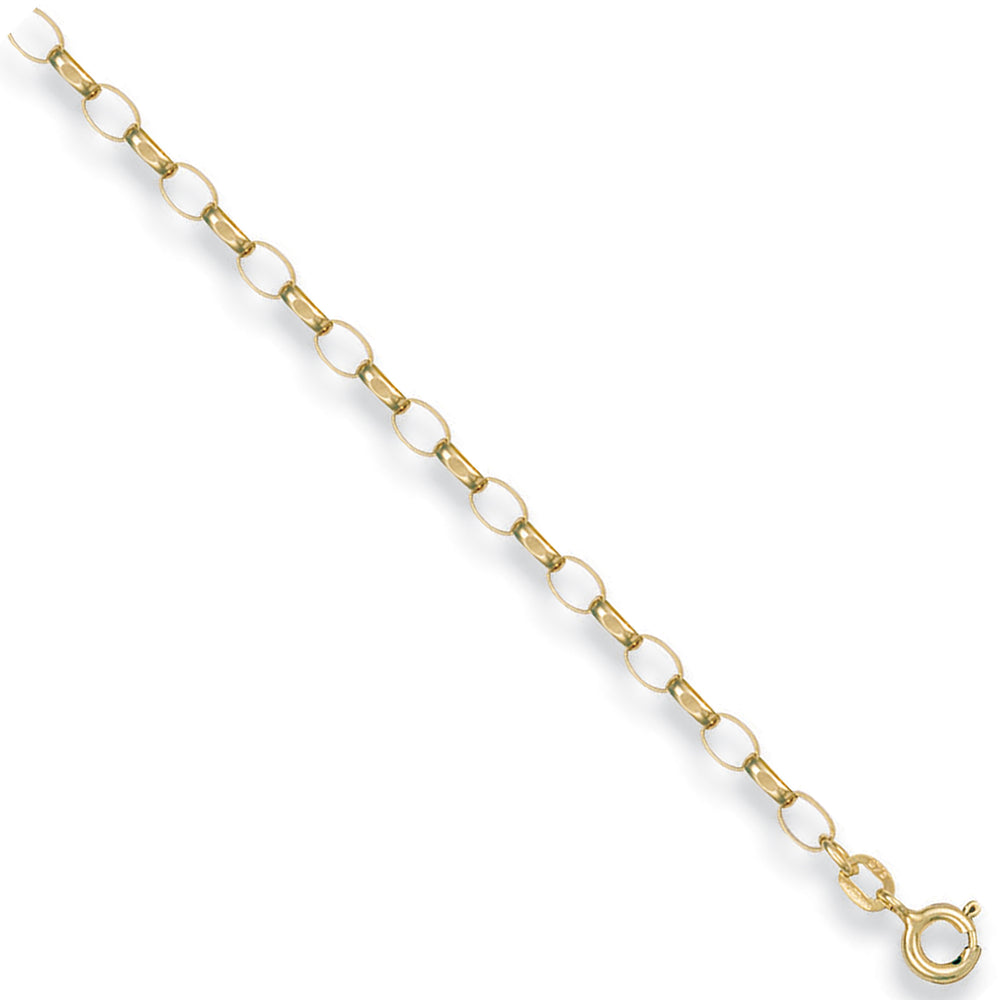 9ct Yellow Gold Open Diamond Cut Oval Belcher Chain