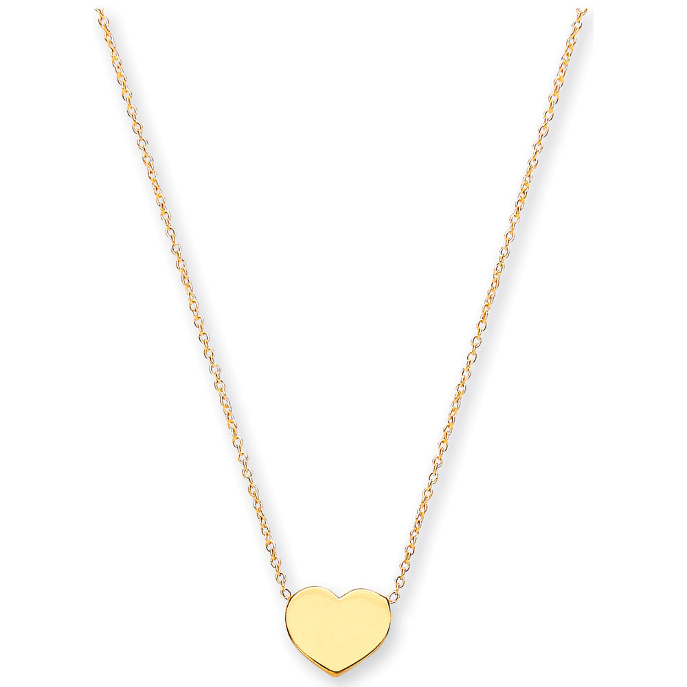 "9ct Yellow Gold Rolo Chain With Heart, Adjustable from 18"" to 16""/14"""