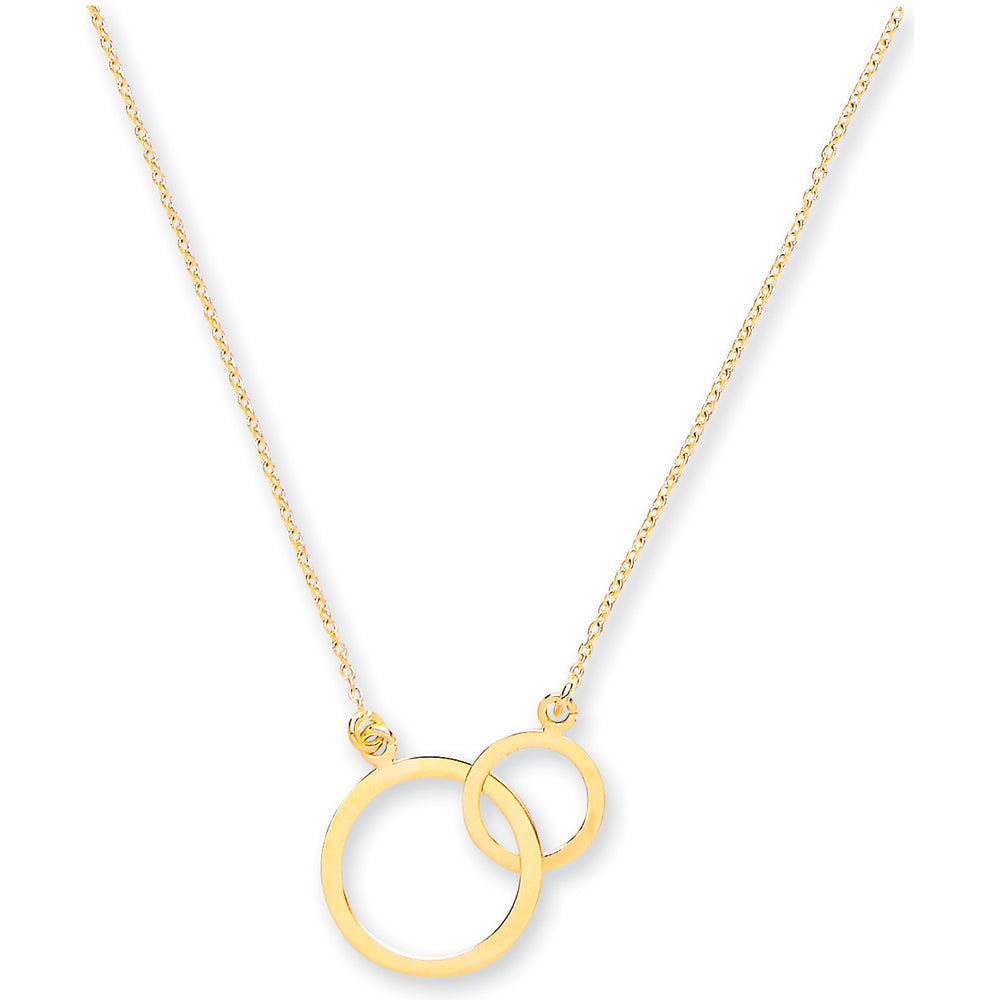 "9ct Yellow Gold Rolo Chain With Two Circles, Adjustable from 18"" to 16""/14"""