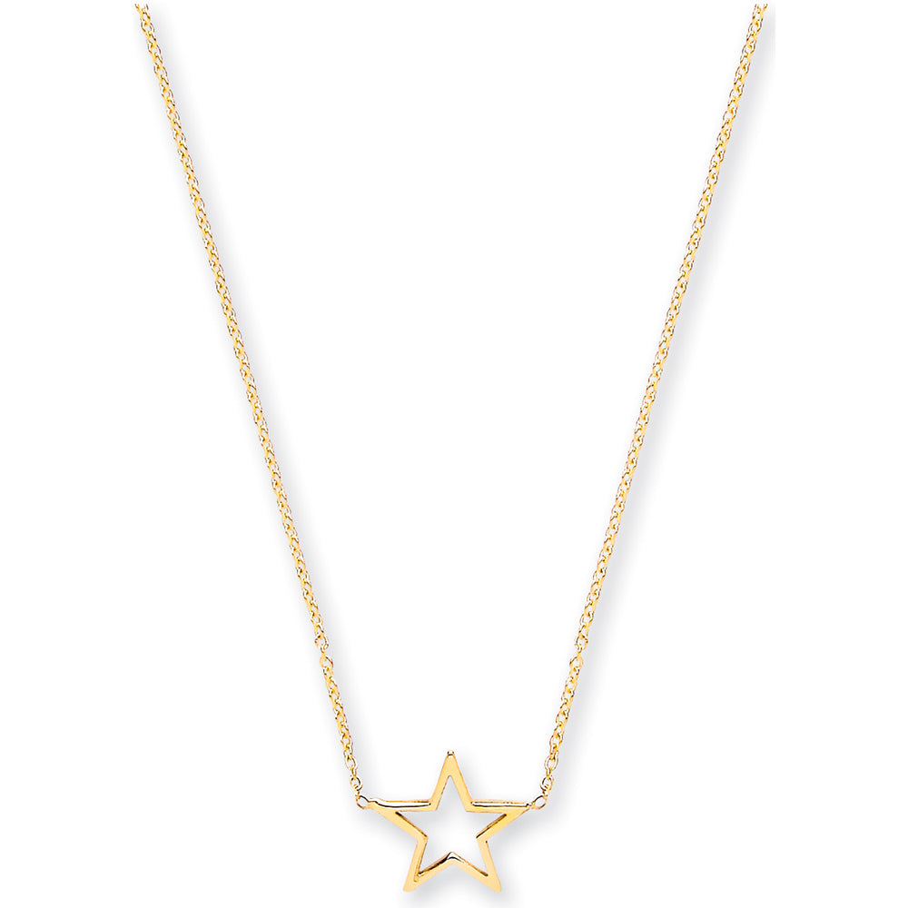 "9ct Yellow Gold Rolo Chain With Star Adjustable from 18"" to 16""/14"""