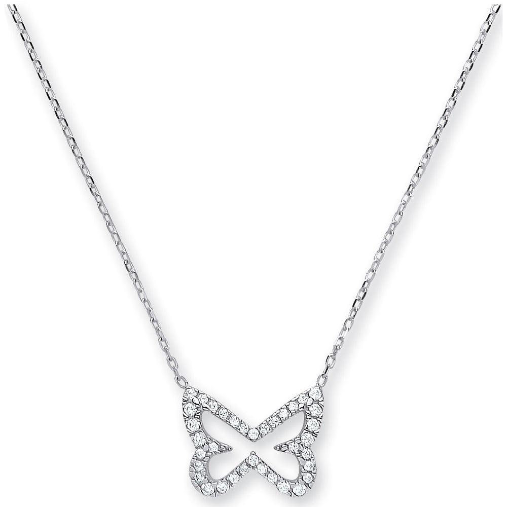 Womens 9ct White Gold Diamond Cut Trace Chain, CZ (Cubic Zirconia) Butterfly with Adjustable Lengths