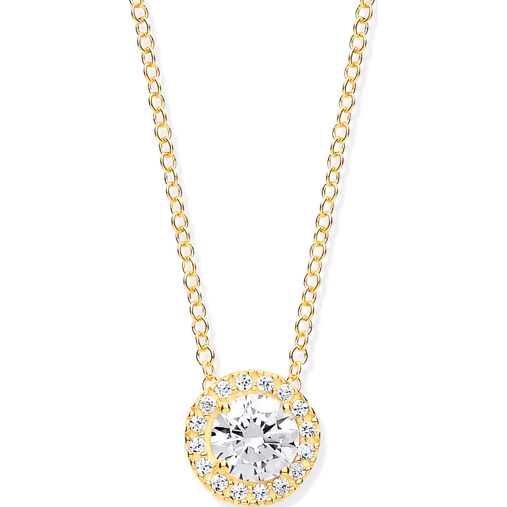 "9ct Yellow Gold Round CZ (Cubic Zirconia)  Pendant on 18"" Chain"