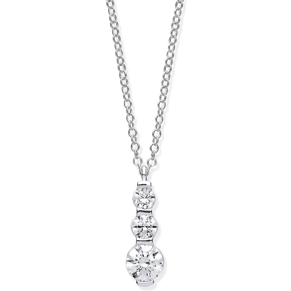 "Womens 9ct White Gold Graduated CZ  (Cubic Zirconia) Drop Pendant on 18"" Chain"