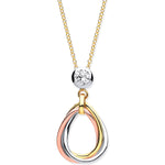 "9ct Yellow Gold, White Gold, & Rose Gold Tear Drop Tubes Pendant on 18"" Chain"