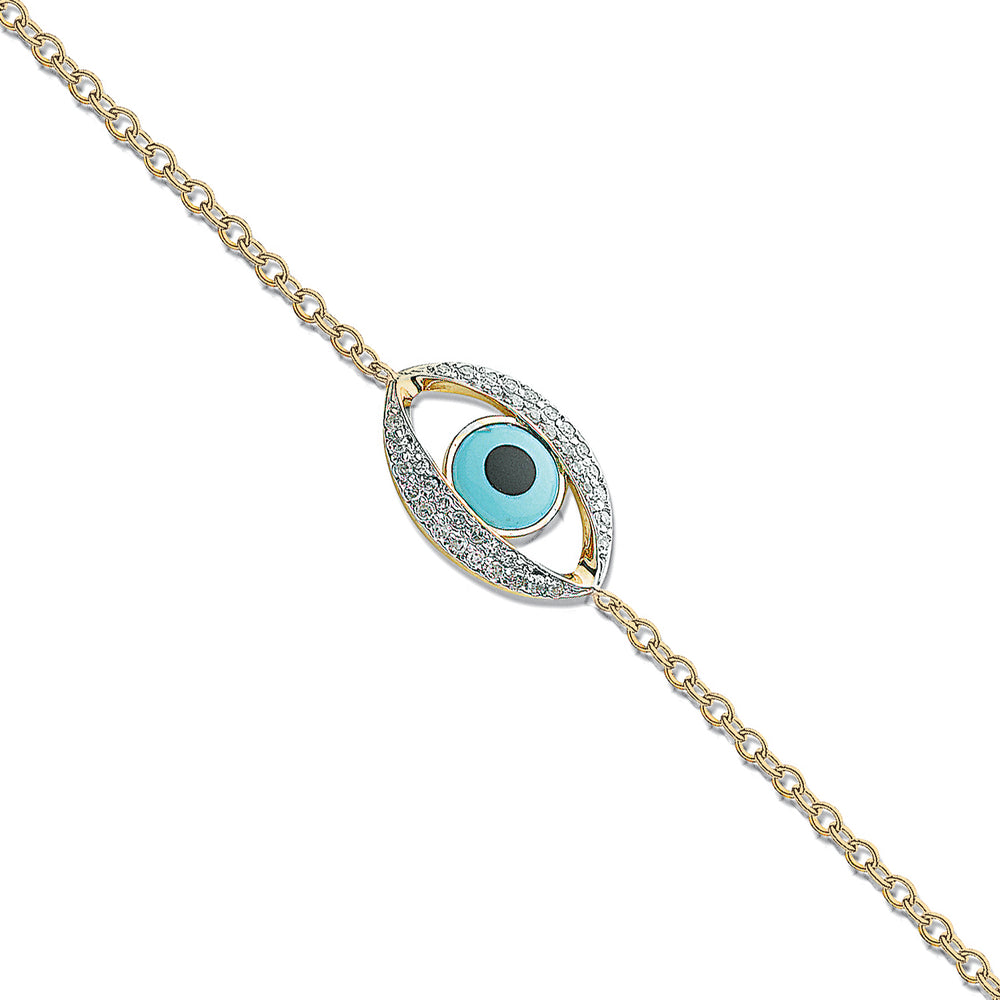 18ct Yellow Gold 0.24ct Evil Eye Diamond Bracelet