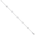 9ct White Gold 0.20ctw Hearts & Stars Diamond Bracelet