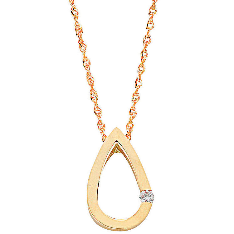 9ct Yellow Gold 0.04ct Diamond Tear Drop Pendant with 18in/45cm Chain