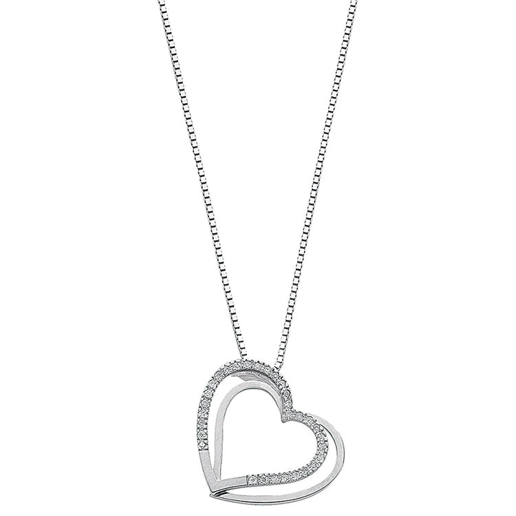 Womens 9ct White Gold 0.15ct Diamond Double Heart Necklace Pendant with 18in/45cm Chain