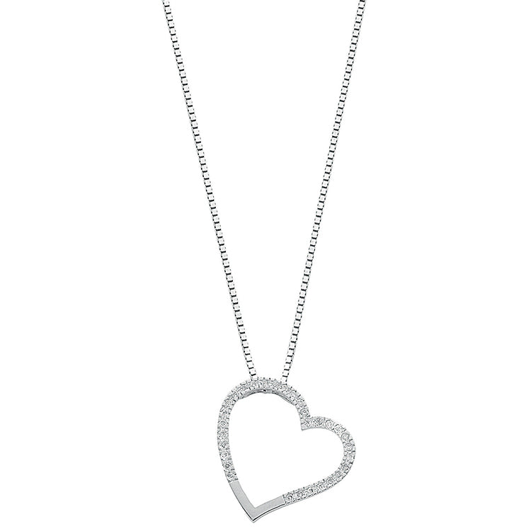 Womens 9ct White Gold 0.12ct Diamond Heart Pendant Necklace with 18in/45cm Chain