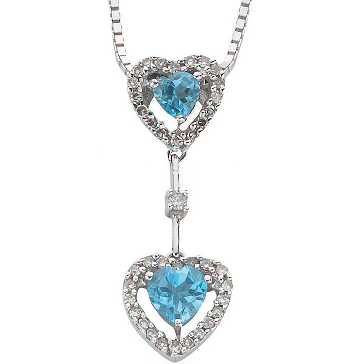 Womens 9ct White Gold Diamond & Blue Topaz Heart Drop Pendant with 18in/45cm Chain