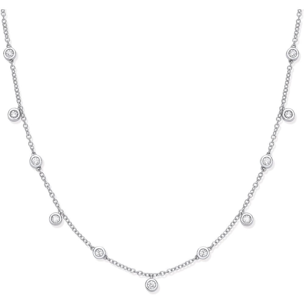 18ct White Gold 0.33ctw Rub Over Set Diamond Chain