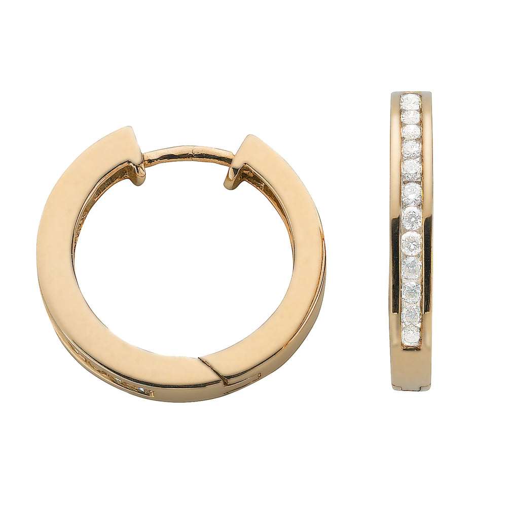 9ct Yellow Gold 0.50ct Diamond Hoop Earrings