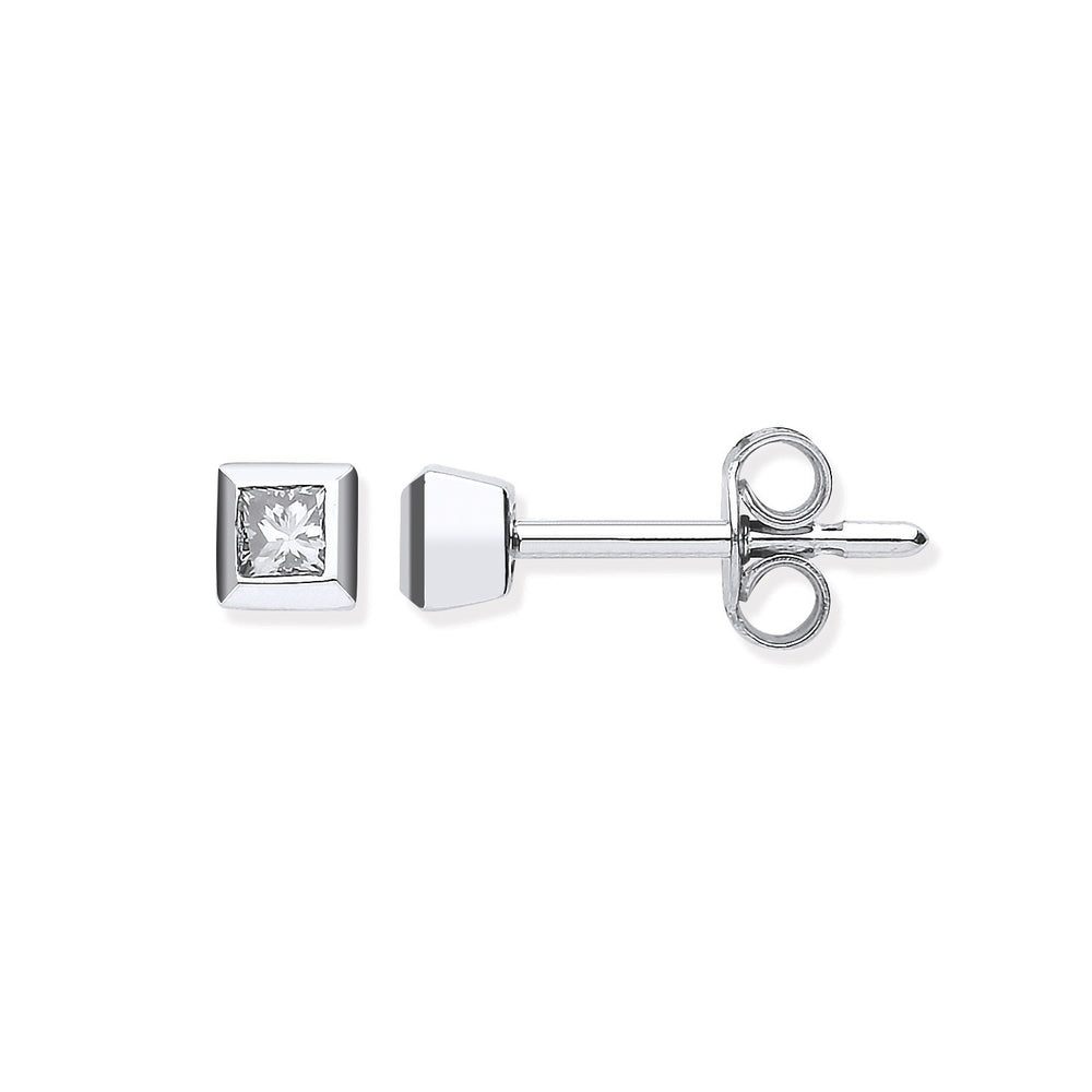 18ct White Gold 0.20ct Rubover Set Princess Cut Diamond Stud Earrings