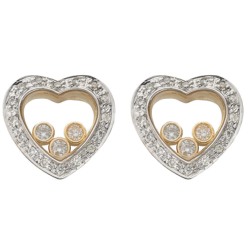 9ct Yellow Gold 0.33ct Floating Diamond Heart Stud Earrings