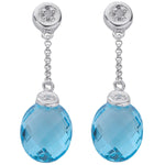 9ct White Gold 0.04ct Diamond & 6.93ct Blue Topaz Drop Earrings