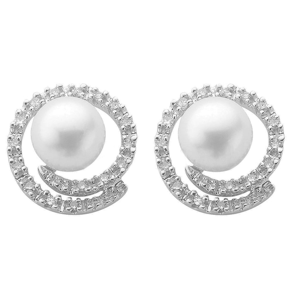 9ct White Gold 0.18ct Diamond & Pearl Stud Earrings
