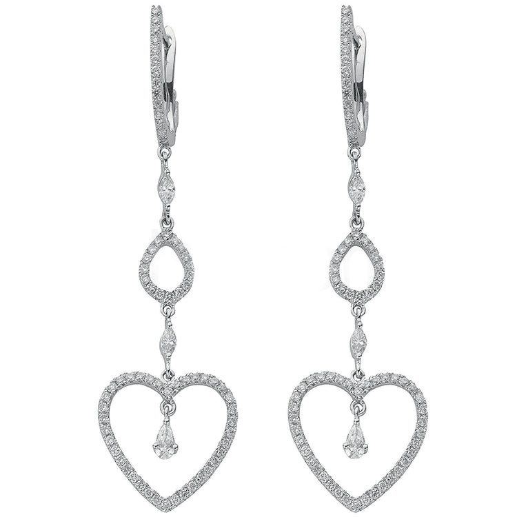 18ct White Gold 1.22ct Diamond Drop Earrings