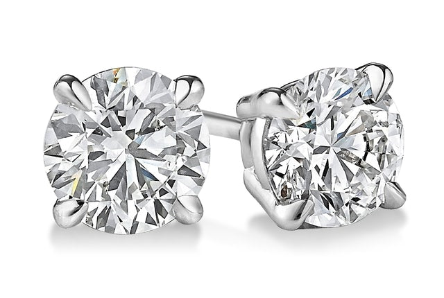 9ct White Gold 0.25ct Claw Set Diamond Stud Earrings