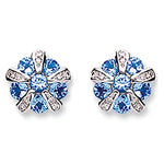 9ct White Gold 0.08ct Diamond & 1.20ct Tanzanite Earrings