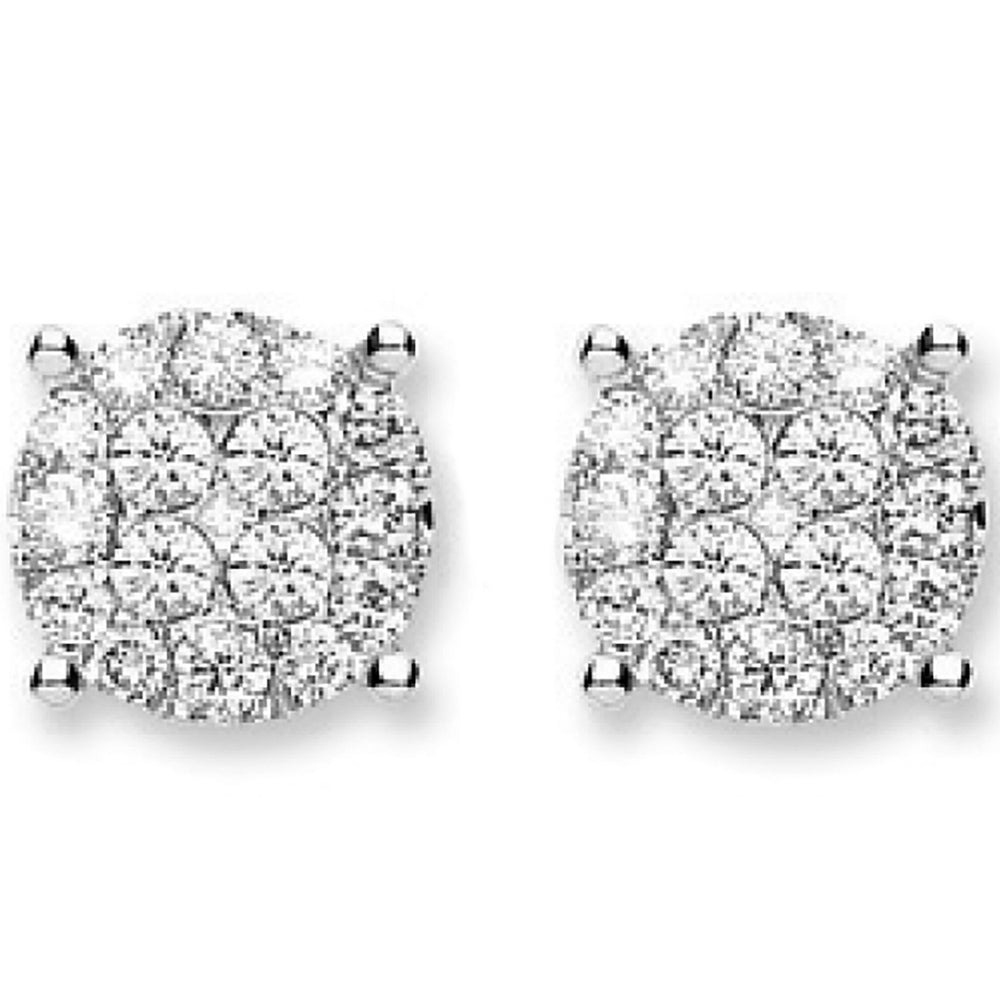 18Ct White Gold 1.00ct Cluster Diamond Studs