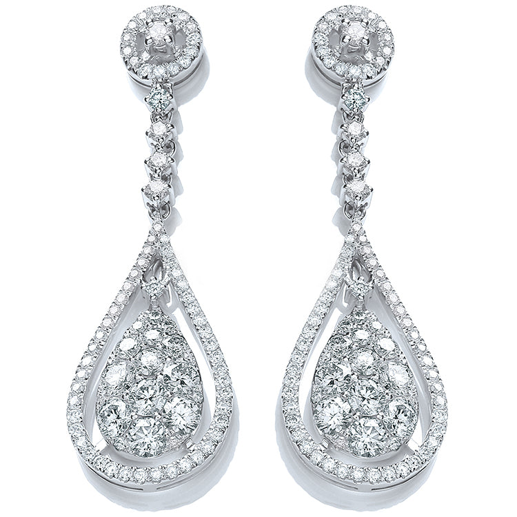 18ct White Gold 3.30ct Diamond Drop Earrings