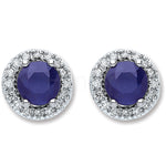 9ct White Gold 0.15ct Diamond 1.2ct 5mm Round Sapphire Stud Earrings