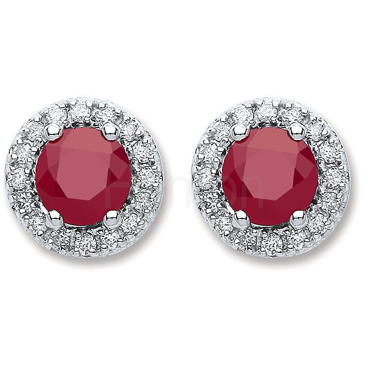 9ct White Gold 0.15ct Diamond, 0.9ct 5mm Round Ruby Stud Earrings