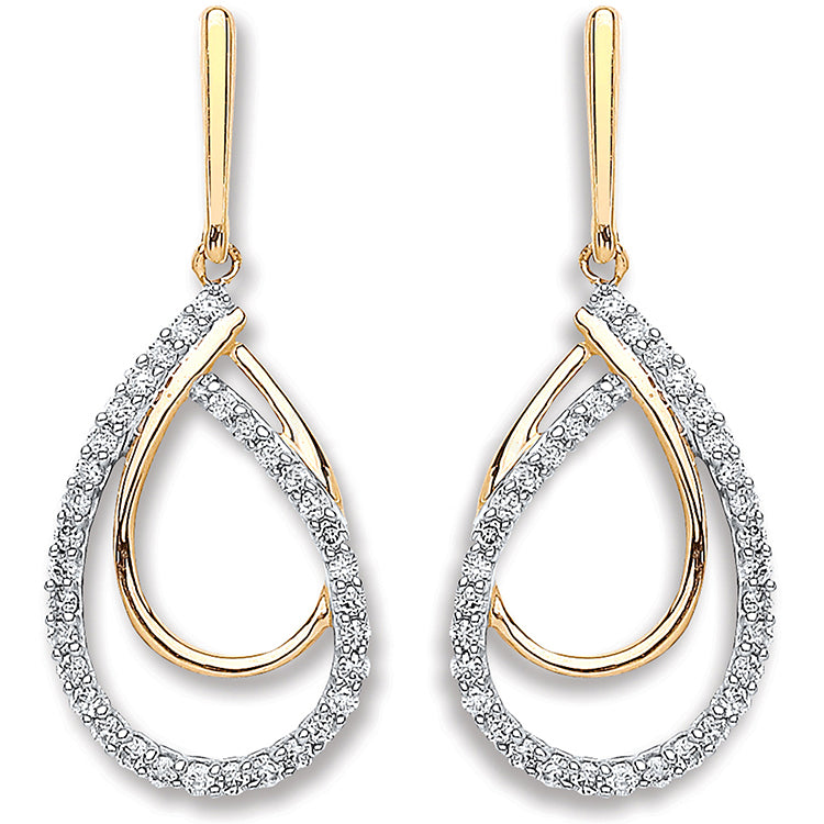9ct Yellow Gold 0.20ct Diamond Drop Earrings