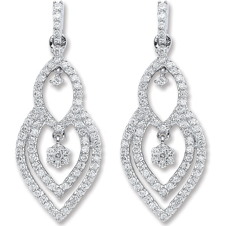 8ct White Gold 0.75ct Diamond Drop Earrings