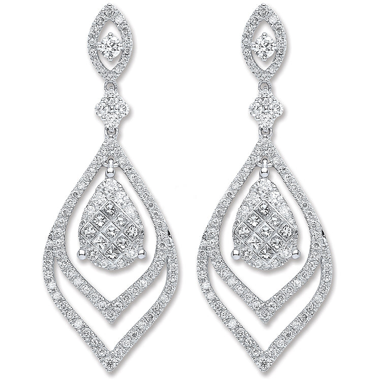 18ct White Gold 2.00ct Diamond Drop Earrings