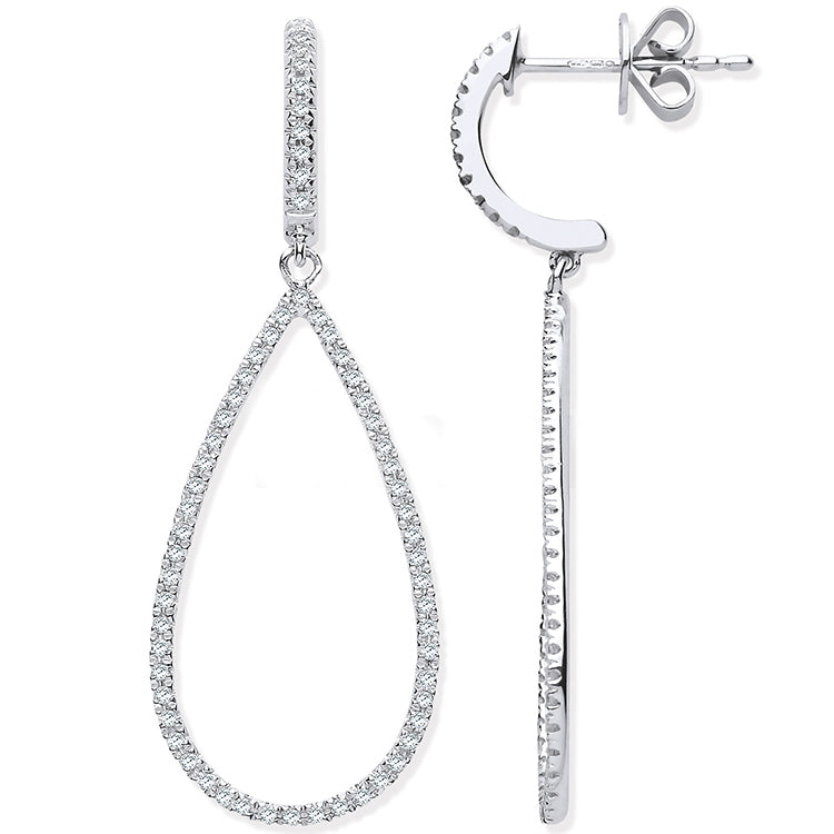 9ct White Gold 0.35ct Diamond Drop Earrings