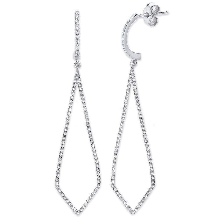 9ct White Gold 0.40ct Diamond Drop Earrings