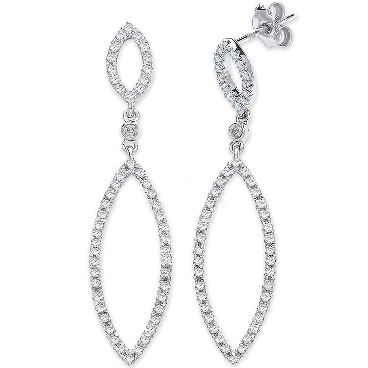9ct White Gold 0.50ct Diamond Drop Earrings