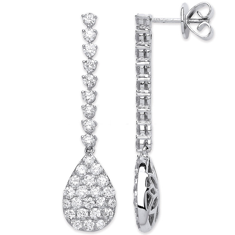18ct White Gold 2.34ct Fancy Pear Shaped Pave Drop Earrings